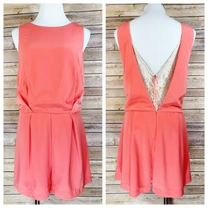 Astr the Label Coral Lace Open Back Romper